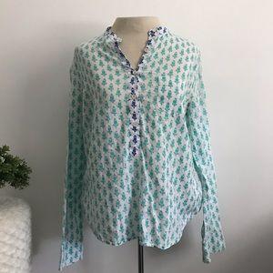 J. Crew popover thistle print blouse slim